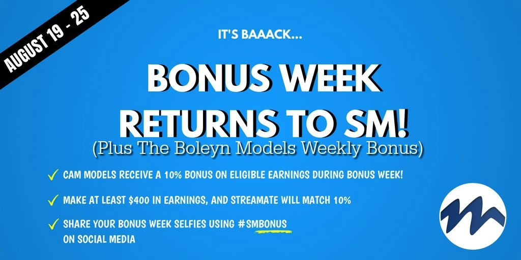 streamate boleynmodels weekly bonus
