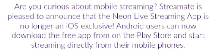 streamate mobile streaming neon