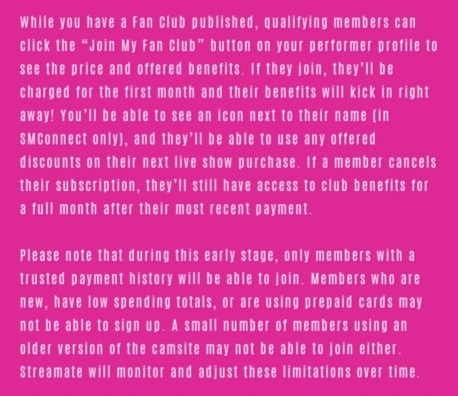 streamate fanclub details